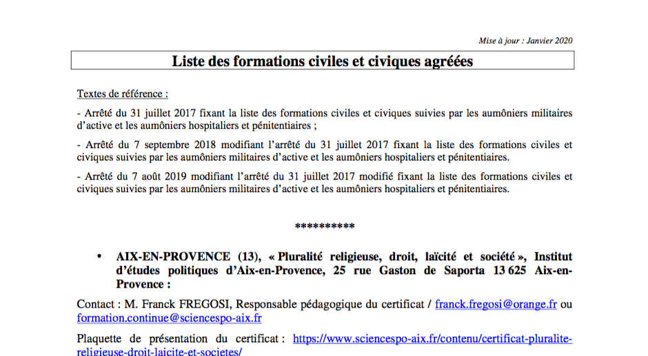 Liste des formations civiles et civiques agréées (DU)