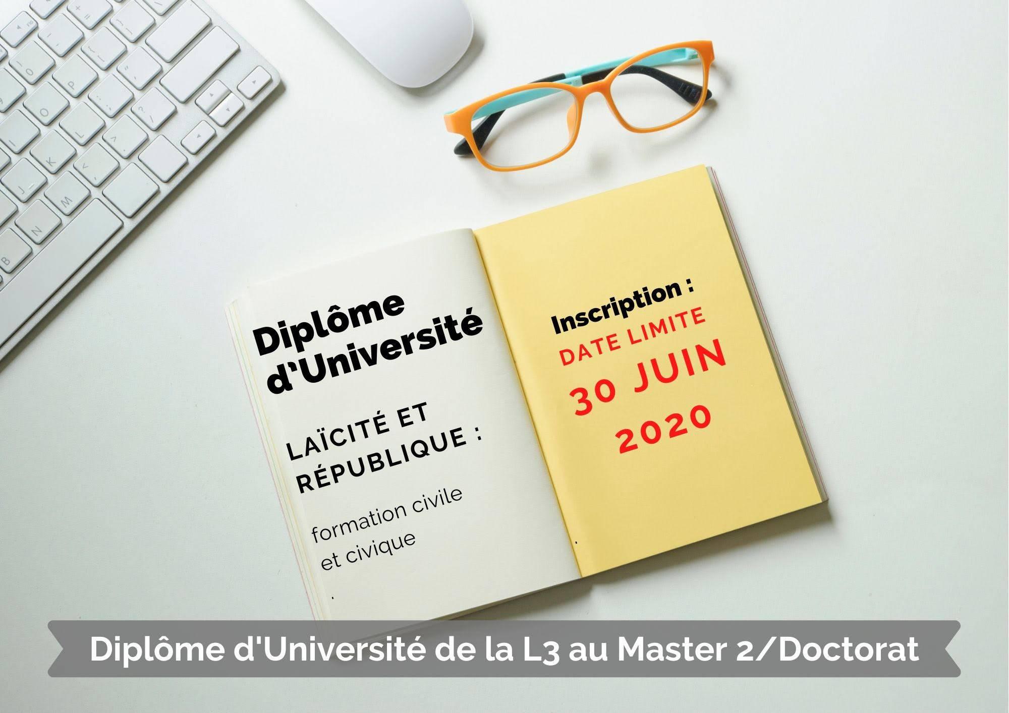 Message de l'Université de Savoie-Mont-Blanc concernant les modalités d'inscription au DU de formation civile et civique à Chambéry.